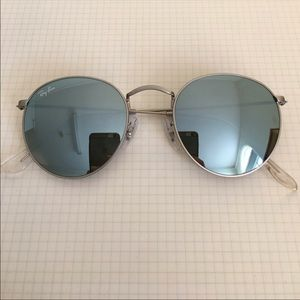 Ray Ban baby blue sunglasses with matte silver rim